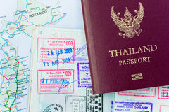 Japan visas. Thailand passport now can travelling aboard to Japan without Visas Stock Photography