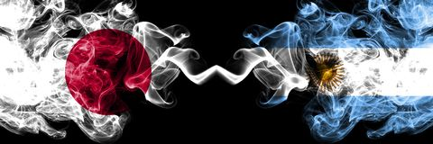 Japan vs Argentina, Argentinian smoky mystic flags placed side by side. Thick colored silky smokes combination of Argentina,. Argentinian and Japanese flag stock illustration