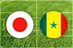 Japan vs den Senegal fotbollsmatchen Royaltyfri Fotografi