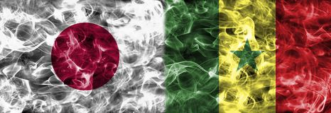 Japan vs Senegal smoke flag, group H, Fifa football world cup 20. 18, Moscow, Russia Royalty Free Stock Photography