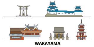 Japan, Wakayama flat landmarks vector illustration. Japan, Wakayama line city with famous travel sights, skyline, design. Japan, Wakayama flat landmarks vector vector illustration