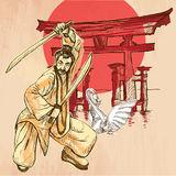 Japan. An Warrior, Shinto, Swan. An hand drawn vector picture. L Stock Photography