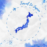 Japan watercolor map in blue colors. Travel to Japan poster with airplane trace and handpainted watercolor Japan map on crumpled paper. Vector illustration vector illustration