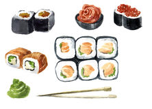 Japan watercolor sketch sushi set. Different kinds of rolls, maki and more. Rice and fish. art illustration. Vintage graphic for m. Enu cafe, bar and restaurant Stock Photography