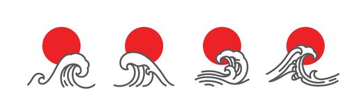 Japan wave and red sun vector illustration. Set. Linear art of great wave. Minimal style for use as logo, icons or t-shirt design royalty free illustration
