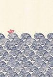 Japan-Welle und Schiffsorigamimuster Stockbild