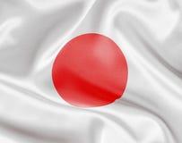 Japan white satin or silk flag. Japan flag on white satin or silk royalty free stock photo