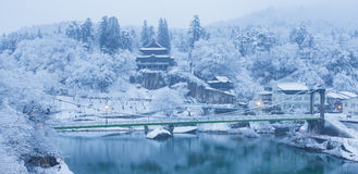 Japan winter landscape at Mishima town Royalty Free Stock Photography
