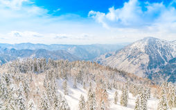 Japan Winter mountain with snow covered. Stock Photo