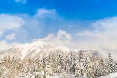 .Japan Winter mountain with snow covered Stock Photos