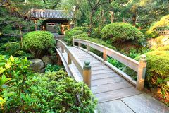 Japan :Wooden Bridge at Japanese Garden Royalty Free Stock Images
