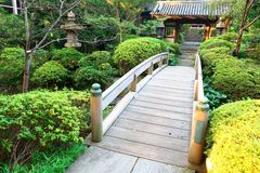 Japan :Wooden Bridge at Japanese Garden Royalty Free Stock Photos
