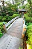 Japan :Wooden Bridge at Japanese Garden Stock Photography