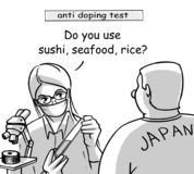 Japan world anti doping commission. Art cartoon royalty free stock images