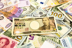 Japan and world currency money banknote Royalty Free Stock Image