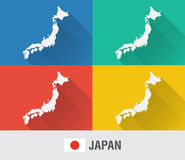 Japan world map in flat style with 4 colors. Royalty Free Stock Image