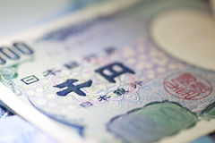 Japan YEN Banknotes focus Royalty Free Stock Photos