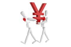 Japan yen currency white man Stock Photo