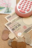 Japan Yen Money with calculator Stock Photo