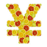 Japan yen sign of citrus fruit slices Royalty Free Stock Image