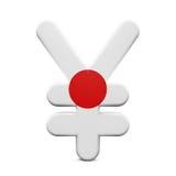 Japan Yen Symbol met Vlag Royalty-vrije Stock Afbeeldingen