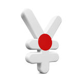 Japan Yen Symbol met Vlag Royalty-vrije Stock Afbeelding