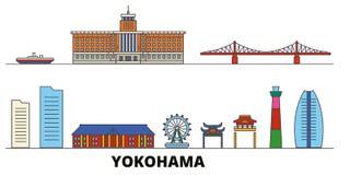 Japan, Yokohama flat landmarks vector illustration. Japan, Yokohama line city with famous travel sights, skyline, design. Japan, Yokohama flat landmarks vector royalty free illustration
