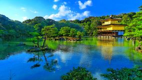 Japan zen golden temple. Place in front lake and garden stock images