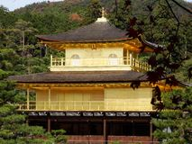 Japan zen golden temple. Place in front lake and garden royalty free stock photo