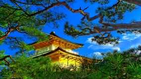 Japan zen golden temple. Place in front lake and garden stock photo