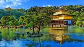 Japan zen golden temple. Place in front lake and garden royalty free stock images