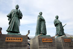 Japanaese statues of leaders of bakumatsu period. KOCHI, JAPAN - MAY 21, 2017: Statues of leaders of Bakumatsu period near Kochi railway station, Japan Royalty Free Stock Image