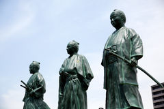 Japanaese statues of leaders of bakumatsu period. KOCHI, JAPAN - MAY 21, 2017: Statues of leaders of Bakumatsu period near Kochi railway station, Japan Royalty Free Stock Images