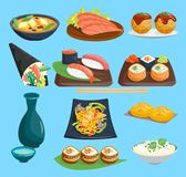 Japane food vector sushi on plate sashimi roll or nigiri and seafood with rice in Japanese restaurant illustration. Cuisine with chopsticks Japanization set Royalty Free Stock Photography