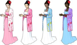 japaneese被称呼的婚礼礼服的美丽的妇女 免版税库存图片