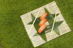 Japaneese jedzenie Ręka kulinarny suszi Obrazy Stock