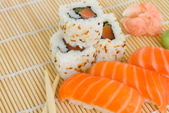 Japaneese sushi and rolls Royalty Free Stock Images