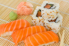 Japaneese sushi and rolls dish Royalty Free Stock Images