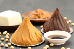 Japaneese traditional soybean processed foods stock image