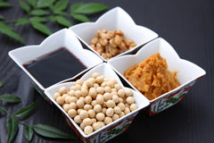 Japaneese traditional soybean processed foods Royalty Free Stock Images