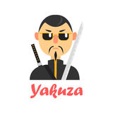 Japaneese Yakuza Cartoon Style Icon Royalty Free Stock Photo