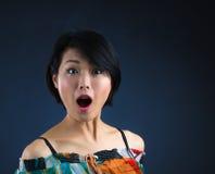 Japaner überraschen Frau Stockfotos