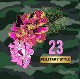 Japaner blüht Pfingstrose gestickte Paillette und Perlen auf Militärhintergrund lizenzfreie abbildung