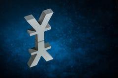 Japaner des chinesischen Währungszeichens oder des Zeichens mit Spiegel-Reflexion auf blauem Dusty Background stockfoto