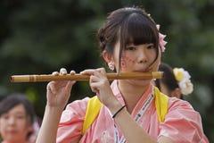 Japaner Flutiste Stockbild