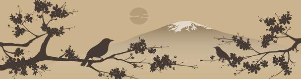 Japaner konzipieren mit Fuji-Berg und Sakua Baum Lizenzfreie Stockfotos
