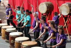 Japaner Taiko Drumming Lizenzfreie Stockbilder