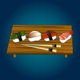 Japanes del sistema, del marisco, del maki y de los rollos del sushi Imagen de archivo