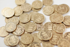 Japanese 500 yen coins. Many coins Stock Photo