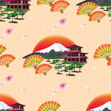 Japanese abstract background with fans and landscape. Beautiful golden background seamless pattern with blossoming pink sakura  - japanese cherry tree and flying Stock Photography